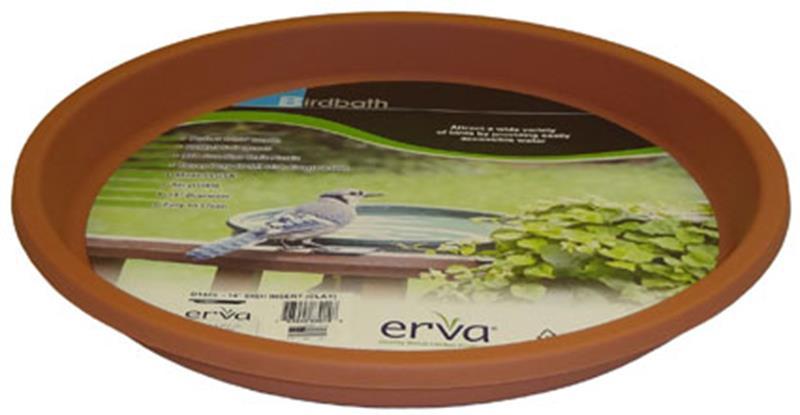 """Clay 14"""" Bird Bath Insert,Erva,D14CL"""