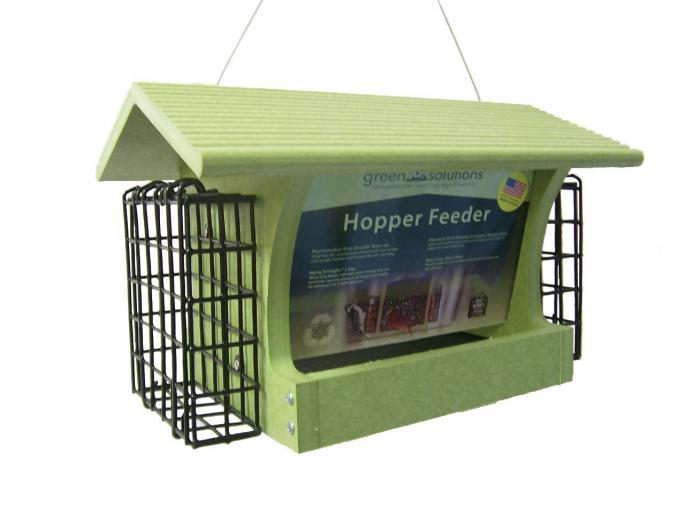 Recycled Med. Hopper w/ Suet Green,Backyard Nature Products,GSHF200S