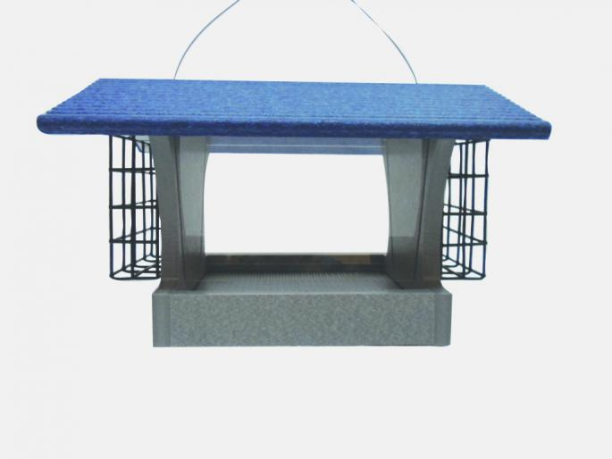Med Hopper  w/ Suet Blue Roof,Backyard Nature Products,GSHF200S-B